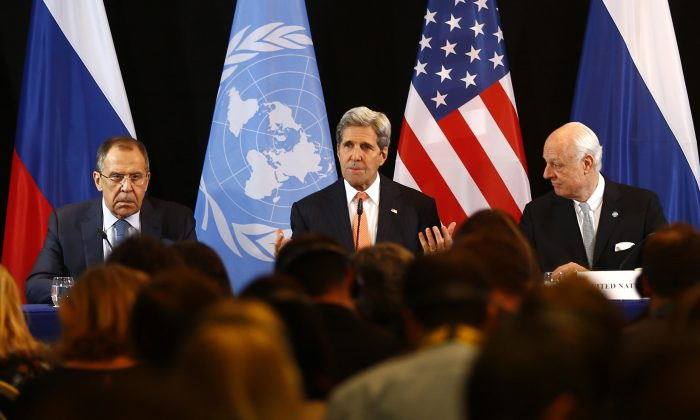 Secretary of State John Kerry (C), Russian Foreign Minister Sergey Lavrov (L), and U.N. Special Envoy for Syria Staffan de Mistura (R) at a news conference after the International Syria Support Group (ISSG) meeting in Munich, Germany, on Feb. 12, 2016. (AP Photo/Matthias Schrader)