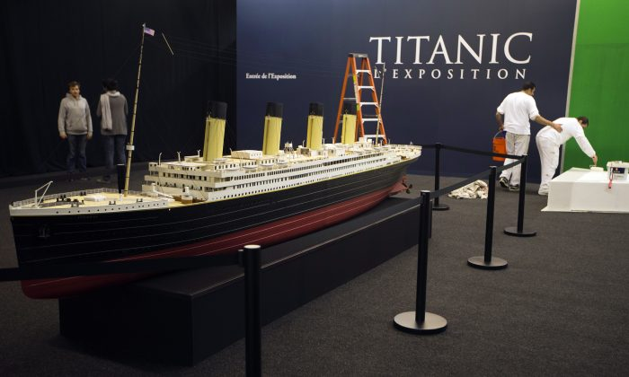 Workers finish setting up an exhibition dedicated to the Titanic, at 'Paris Expo', on May 31, 2013, in Paris.  (JOEL SAGET/AFP/Getty Images)