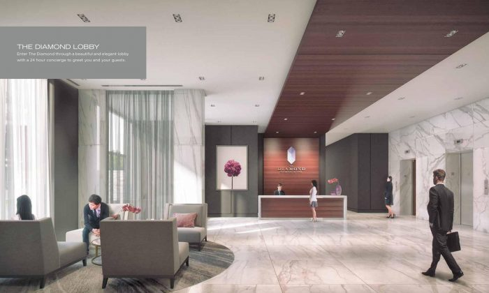 Rendering of the lobby at The Diamond Condominiums on Yonge by Diamante Development Corporation, currently in preconstruction at 75 Canterbury Place, Toronto. (Diamante Development Corporation)
