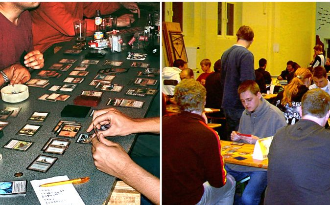 People playing the collectible card game Magic: The gathering. (Andre Engels/CC BY 1.0)