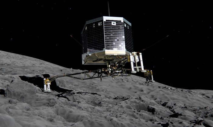 Still image from animation of Philae separating from Rosetta and descending to the surface of comet 67P/Churyumov-Gerasimenko in November 2014. (European Space Agency)