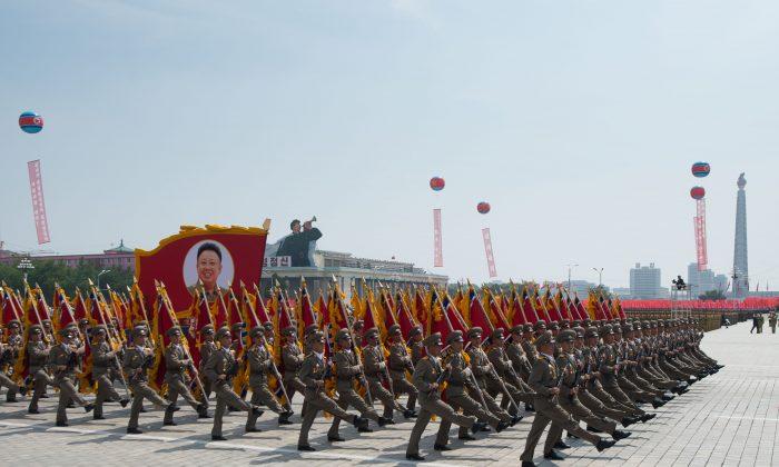 North Korean soldiers march in Pyongyang in July 2013. (Ed Jones/AFP/Getty Images)