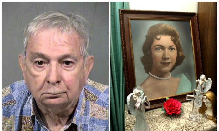 Left: This undated photo provided by the Maricopa County Sheriff's Office shows John Feit. The former priest has been arrested Tuesday, Feb. 9, 2016, in Arizona in the 1960 slaying of a 25-year-old Texas schoolteacher and beauty queen, Irene Garza. (Maricopa County Sheriff's Office via AP) Right: This photo taken on March 11, 2004, shows a portrait of Irene Garza displayed at the home of her aunt Herlynda De La Vina in Edinburg, Texas. A former priest was arrested Tuesday, Feb. 9, 2016, in Arizona in the 1960 slaying of the 25-year-old Texas schoolteacher and beauty queen. (Delcia Lopez /The San Antonio Express-News via AP)