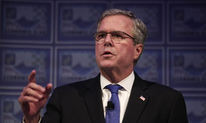 Former Florida Governor Jeb Bush at the Detroit Economic Club in Detroit, Mich., on Feb. 4, 2015. (Bill Pugliano/Getty Images)