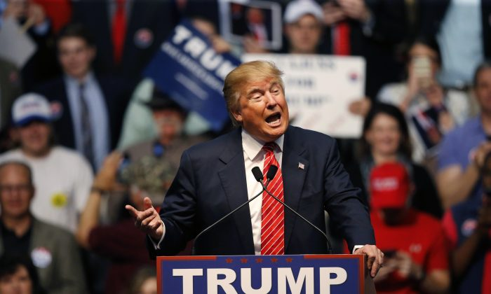 In this photo taken Feb. 11, 2016, Republican presidential candidate Donald Trump speaks at a campaign rally in Baton Rouge, La. Eyebrows shot up when Sarah Palin used a salty acronym, WTF, to mock the policies of President Barack Obama in 2011. How quaint. Five years later, Trump has blown right past acronyms in a profanity-laced campaign for the Republican nomination that has seen multiple candidates hurl insults and disparaging remarks at one another and their critics. (AP Photo/Gerald Herbert)