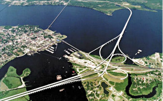 A file aerial photo of the Neuse River Bridge in North Carolina. (Federal Highway Administration)