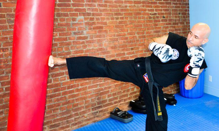Owner Kevin Mendez at America's Finest Karate & Kickboxing dojo in Middletown on Feb. 12. 2016. (Yvonne Marcotte/Epoch Times)