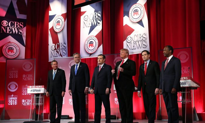 Republican presidential candidates (L-R) Ohio Gov. John Kasich, Jeb Bush, Sen. Ted Cruz (R-Texas), Donald Trump, Sen. Marco Rubio (R-Fla.), and Ben Carson during a CBS News GOP debate at the Peace Center in Greenville, S.C., on Feb. 13, 2016. (Spencer Platt/Getty Images)