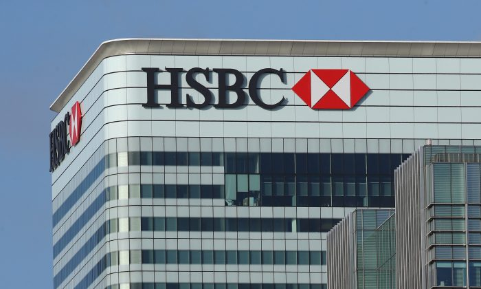 The HSBC Holdings Plc headquarter stands in the Canary Wharf business, financial, and shopping district in London, England, on Feb. 15, 2016. (Dan Kitwood/Getty Images)