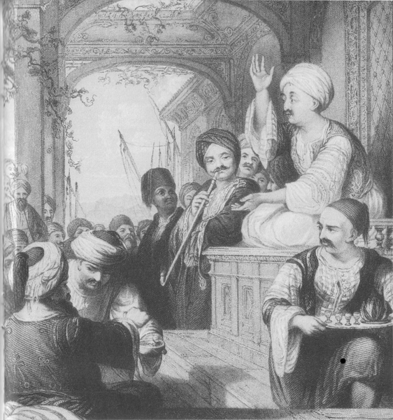 Storyteller (meddah) at a coffeehouse in the Ottoman Empire