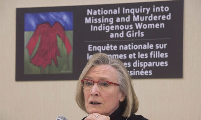 Minister of Indigenous and Northern Affairs Carolyn Bennett speaks during a news conference on the Missing and Murdered Indigenous Women and Girls inquiry in Ottawa on Feb. 15, 2016. (The Canadian Press/Adrian Wyld)