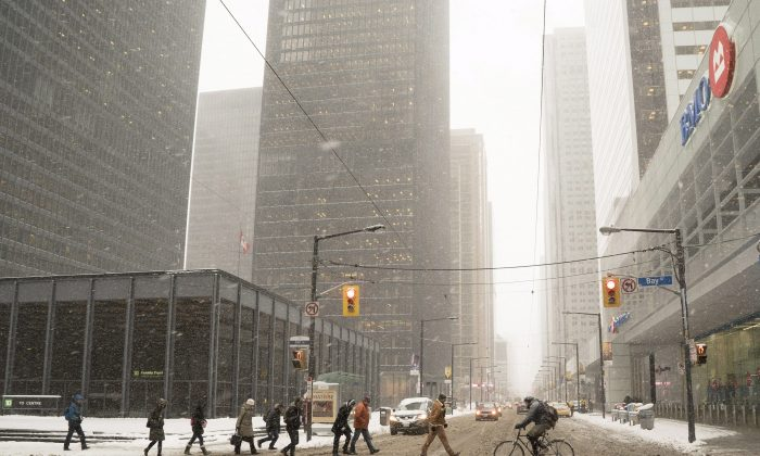 Commuters cross Bay Street in Toronto's financial district. The Canadian banks are surviving financial market turmoil better than their international counterparts once again. (The Canadian Press/Graeme Roy)