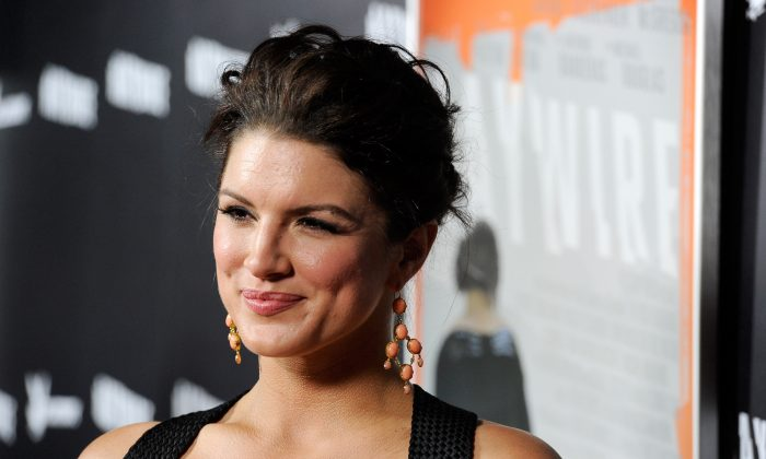 MMA fighter/actress Gina Carano arrives at Relativity Media's premiere of 'Haywire' co-hosted by Playboy held at DGA Theater in Los Angeles, California, on Jan. 5, 2012. (Frazer Harrison/Getty Images/Relativity Media)