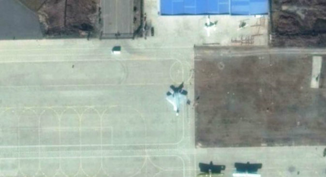 What appears to be a full-sized replica of America's F-22 fighter jet is seen on Pucheng Neifu Airport, in China's Shaanxi province. China may be building a replica of the jet. (Google Maps)