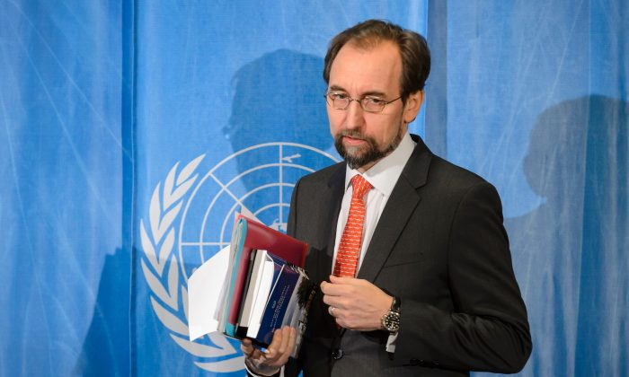 United Nations High Commissioner for Human Rights, Zeid Ra'ad Al Hussein, arrives to a press conference at the United Nations offices in Geneva on Feb. 1, 2016. Al Hussein recently criticized China for persecuting human rights lawyers. (Fabrice Coffrini/AFP/Getty Images)