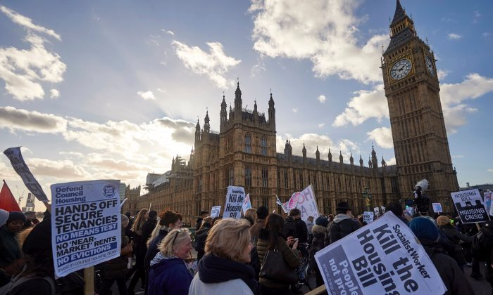 Demonstrators take part in a protest opposing the government's Housing and Planning Bill in central London on January 30th, 2016. (NIKLAS HALLE'N/AFP/Getty Images)