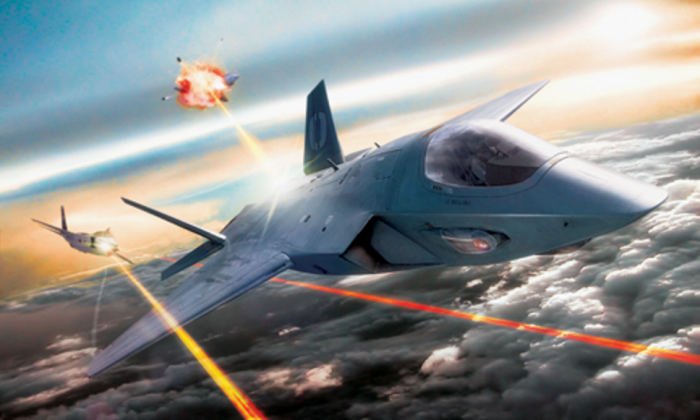 A concept image from Air Combat Command shows jets using mounted laser weapon pods. The U.S. Air Force hopes to put laser weapons on its planes by 2023. (Courtesy photo provided by Air Force Research Lab)