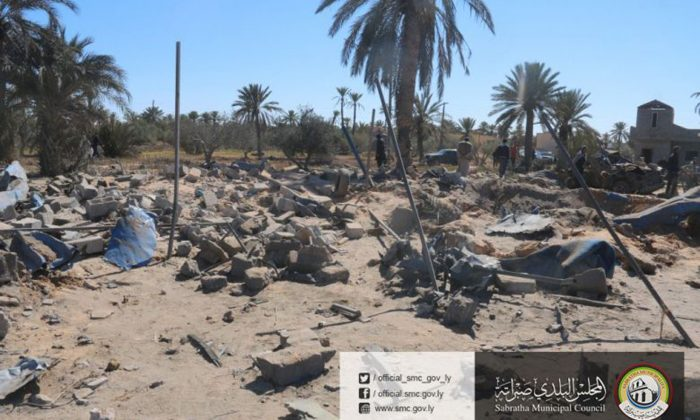 In this picture released online by the Sabratha Municipal Council on Feb. 19, 2016 shows the site where U.S. warplanes struck an Islamic State training camp in Sabratha, Libya near the Tunisian border.  (Sabratha Municipal Council via AP)