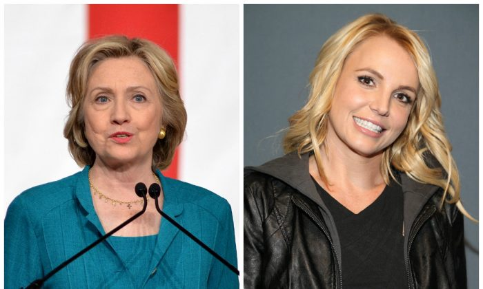 Left: Democratic presidential candidate, former Secretary of State Hillary Rodham Clinton on July 31, 2015, during a campaign stop at Florida International University in Miami. (AP/Gaston De Cardenas) Right: Britney Spears on Sunday, Feb. 1, 2015 in Glendale, Ariz. (Omar Vega/Invision/AP)