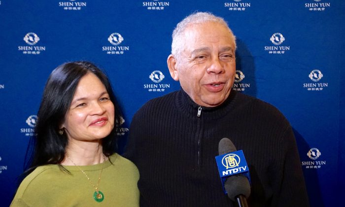 Rev. Garcia and Mrs. Garcia after enjoying Shen Yun at the Kennedy Center Opera House on Feb. 19, 2016. (Courtesy of NTD Television)