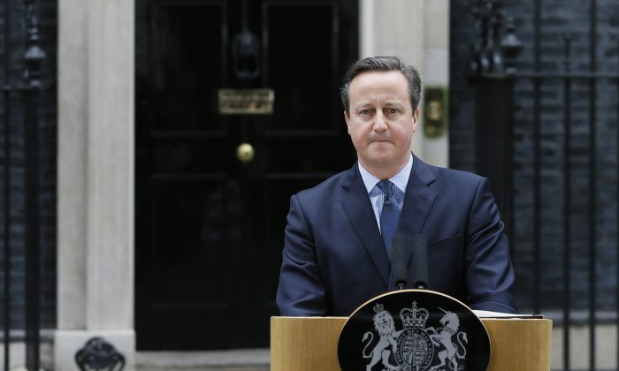 Britain's Prime Minister David Cameron delivers a statement in Downing Street in London, on Feb. 20, 2016. (AP Photo/Kirsty Wigglesworth)