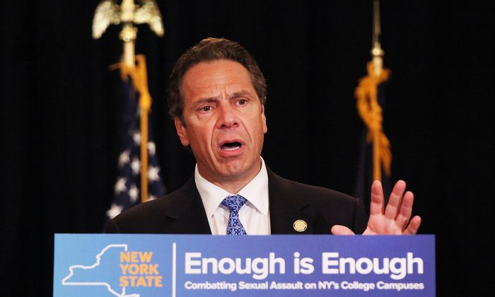 N.Y. Gov. Andrew Cuomo at an event at New York University (NYU) where he signed into law a new affirmative sexual consent policy to combat campus sexual violence, in New York City, on July 7, 2015. (Spencer Platt/Getty Images)