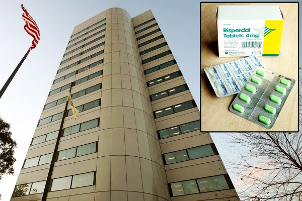 Johnson & Johnson corporate headquarters in New Brunswick, N.J., on Nov. 3, 2009. (Mario Tama/Getty Images) Top right: The anti-psychotic drug Risperdal produced by Janssen, a subsidiary of Johnson & Johnson. (Housed, CC BY-SA 3.0)