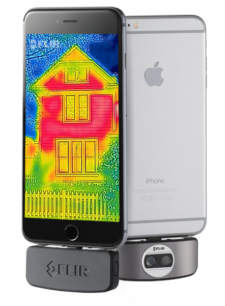 An Apple iPhone with the FLIR ONE thermal camera. (Courtesy of FLIR)