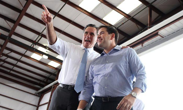 Mitt Romney (L) and U.S. Sen. Marco Rubio (R-FL) in Florida. (Justin Sullivan/Getty Images)