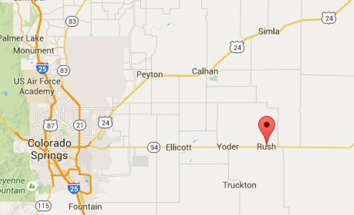 Rush town in El Paso County, Colo. (Screenshot of Google Maps)