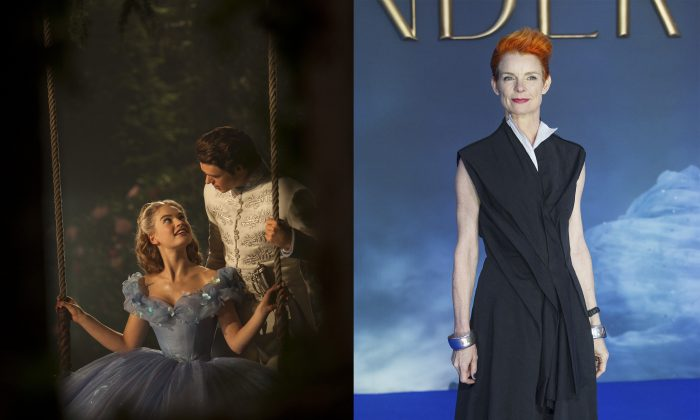 Costume designer Sandy Powell poses at the UK premiere of the film 'Cinderella' in London on March 19, 2015. (JACK TAYLOR/AFP/Getty Images)