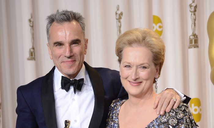 """Two of the greatest character actors of our era: Daniel Day-Lewis, winner of the Best Actor award for """"Lincoln,"""" and presenter Meryl Streep pose in the press room during the Oscars held at Loews Hollywood Hotel in Hollywood, Calif., on Feb. 24, 2013. (Jason Merritt/Getty Images)"""