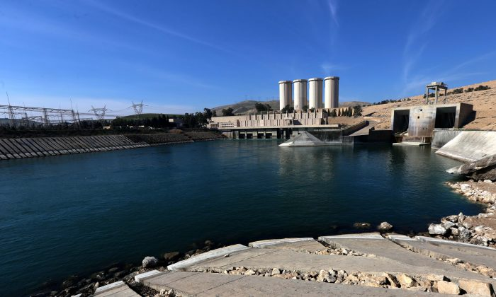 The Mosul Dam on the Tigris River, near Mosul, Iraq, on Feb. 1, 2016. The United States is monitoring Iraq's largest dam for signs of further deterioration that could point to an impending catastrophic collapse. (Safin Hamed/AFP/Getty Images)