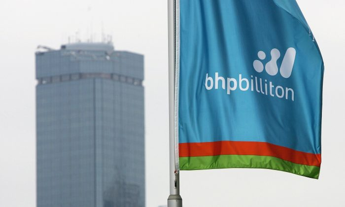 The BHP Billiton logo on a flag at the BHP Billiton Centre in Melbourne, Australia, on Feb. 15, 2006. (Ryan Pierse/Getty Images)