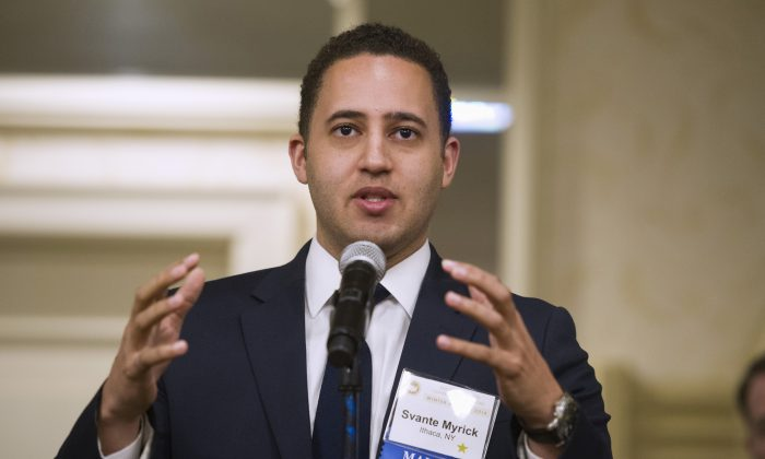 Ithaca, N.Y. Mayor Svante Myrick speaks during at the U.S. Conference of Mayors Winter Meeting in Washington on Jan. 21, 2016. Myrick wants his city to become the first in the U.S. to offer heroin users a safe, controlled place to shoot up. Supervised injection sites, in which a trained medical professional is on hand to deal with overdoses, are already in operation in Europe and Canada, but the idea never gained acceptance in America's law-and-order approach to the war on drugs. (AP Photo/Cliff Owen)