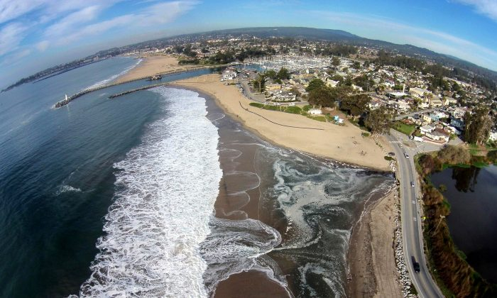 Twin Lakes Beach in Santa Cruz, Calif. and Schwann Lagoon, the body of water on the right. The Nature Conservancy an environmental group in California is recruiting drone hobbyists to map flooding and coastal damage after El Nino storms with the idea that the images will help predict what the future coastline will look like as sea levels rise from global warming. (Matt Merrifield/The Nature Conservancy via AP)