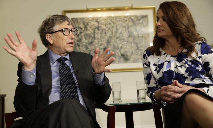 Bill and Melinda Gates talk to reporters about the 2016 annual letter from their foundation, the Bill and Melinda Gates Foundation, in New York, Monday, Feb. 22, 2016. (Seth Wenig/AP Photo)
