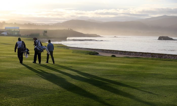 """Famed Scottish novelist Robert Louis Stevenson is quoted in calling Pebble Beach """"the most felicitous meeting of land and sea"""" to be found anywhere on earth. (Christian Petersen/Getty Images)"""
