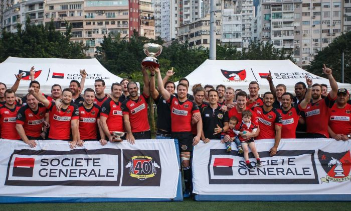 Societe Generale Valley celebrate winning the Premiership League following their win against Sabre Kowloon at Happy Valley on Saturday Feb 20, 2016. Valley ended up clear league winners in this year's competition with 52 points by winning 14 of the 15 games. (HKRFU)