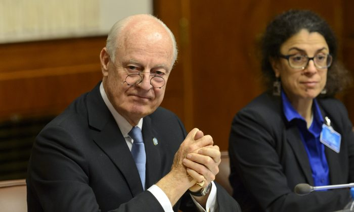 U.N. special envoy for Syria, Staffan de Mistura, arrives for the round of negotiation between the Syrian government and the opposition in Geneva, Switzerland, on Jan. 29, 2016. (Martial Trezzini/Keystone via AP)