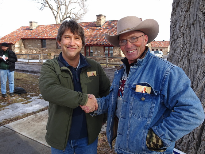 """Author Peter Walker meets with Robert """"LaVoy"""" Finicum at the occupied Malheur National Wildlife refuge on Jan. 20. (Occupier Jason Patrick, Author provided)"""
