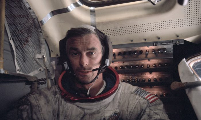 Gene Cernan aboard the lunar module after his final EVA. (Jack Schmitt / NASA)