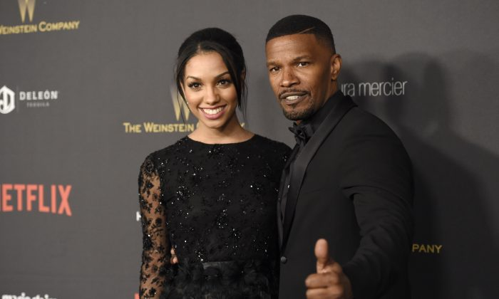 Corinne Foxx, left, and Jamie Foxx arrive at The Weinstein Company and Netflix Golden Globes afterparty on Sunday, Jan. 10, 2016, at the Beverly Hilton Hotel in Beverly Hills, Calif. (Photo by Chris Pizzello/Invision/AP)