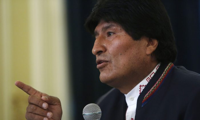 "Bolivia's President Evo Morales during a press conference at the government palace in La Paz, Bolivia, on Feb. 24, 2016. Bolivian voters have handed Evo Morales his first electoral defeat as president, rejecting by a slim margin a constitutional amendment that would have let him run for a fourth consecutive term in 2019. Morales in recognizing his defeat said, ""That he has lost a battle but not the war."" (AP Photo/Juan Karita)"