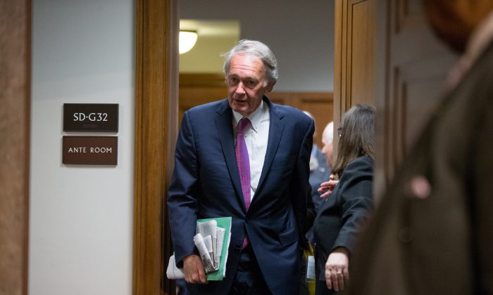 In this photo taken July 23, 2015 Sen. Ed Markey, D-Mass. walks on Capitol Hill, in Washington. (AP Photo/Andrew Harnik)