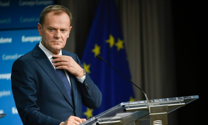 EU President Donald Tusk gives a joint press during an European Summit at the EU Headquarters in Brussels on Feb. 20, 2016. (John Thys/AFP/Getty Images)
