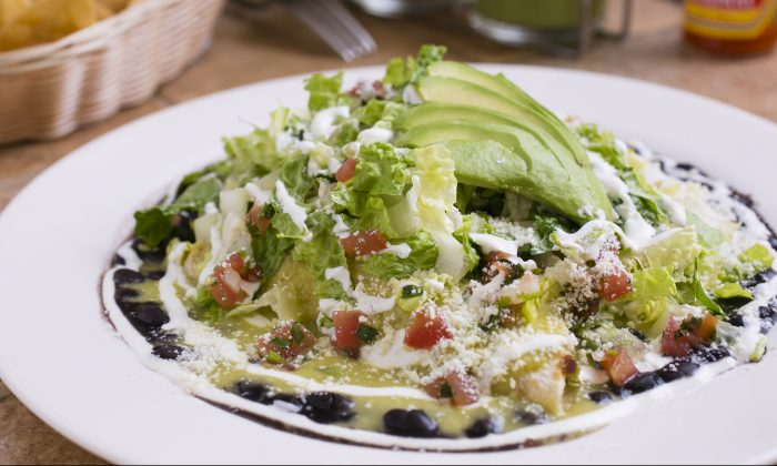The Vegetarian Enchilada is filled with nopal cactus, Mexican squash, poblano chili, and zucchini. (Samira Bouaou/Epoch Times)
