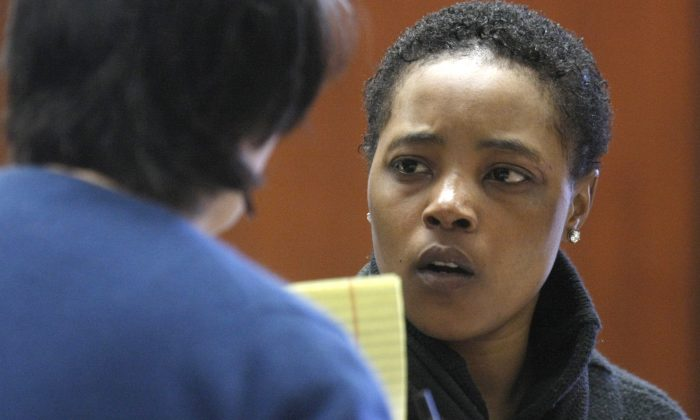 Haniyyah Barnes in court on Tuesday, April 29, 2014, in Newark, N.J. Barnes admitted killing her neighbor's 2-year-old dog by throwing the dog into traffic during an argument over a parking space in August 2011.  (AP Photo/The Star-Ledger, Patti Sapone)