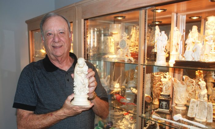 Bob Weisblut with some of the pieces in his ivory collection at his home in Ocean Ridge, Fla. (John Christopher Fine)