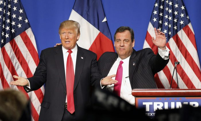 New Jersey Gov. Chris Christie (R) introduced Republican presidential candidate Donald J. Trump after endorsing him before a rally at the Fort Worth Convention Center in Fort Worth, Texas, on Feb. 26, 2016. (Tom Fox/The Dallas Morning News)